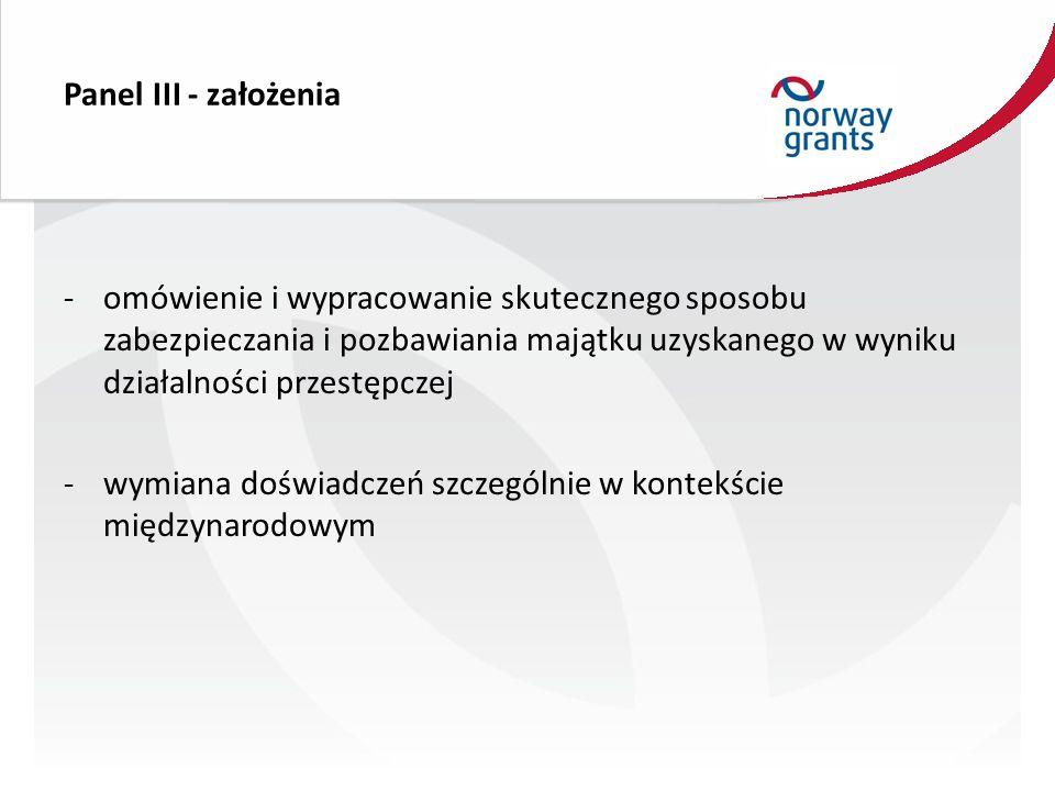 Panel III - założenia -omówienie i wypracowanie skutecznego sposobu zabezpieczania i pozbawiania majątku uzyskanego w wyniku działalności przestępczej -wymiana doświadczeń szczególnie w kontekście międzynarodowym