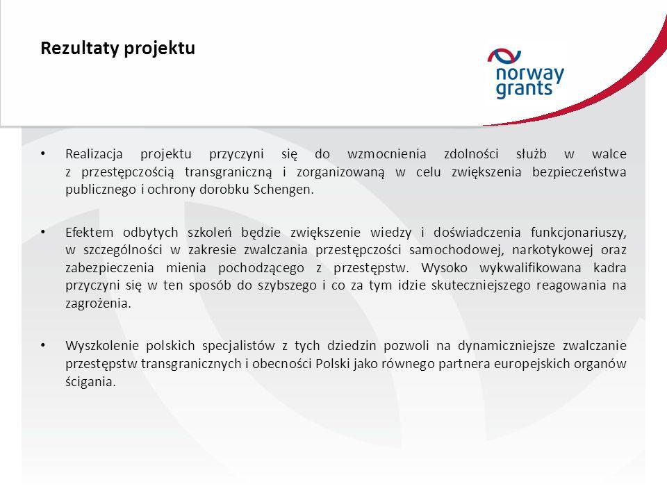 Rezultaty projektu Realizacja projektu przyczyni się do wzmocnienia zdolności służb w walce z przestępczością transgraniczną i zorganizowaną w celu zwiększenia bezpieczeństwa publicznego i ochrony dorobku Schengen.