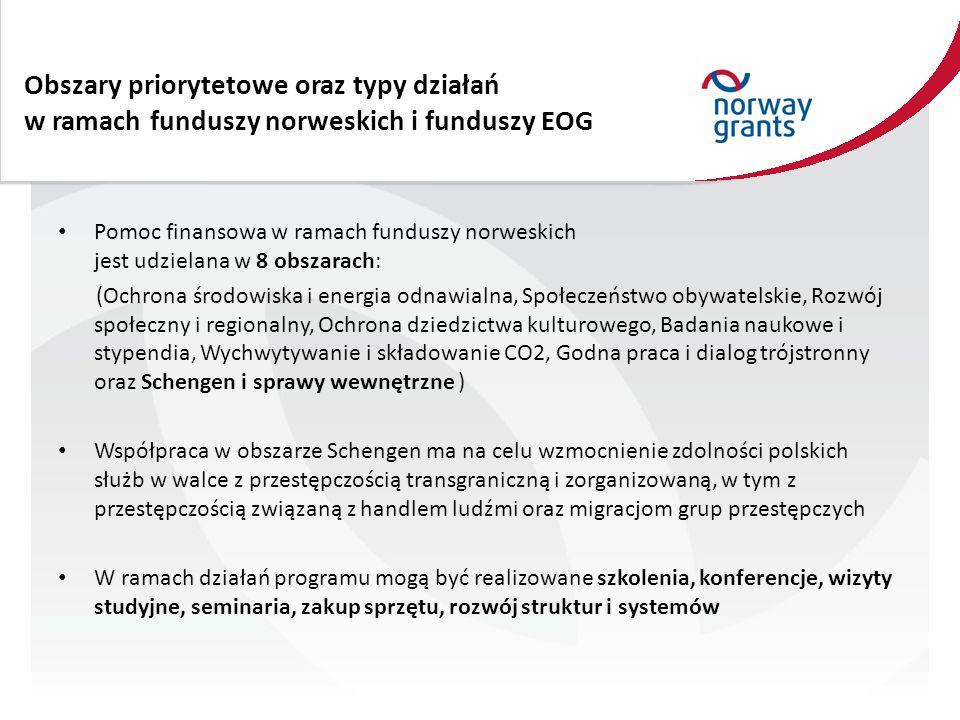 Obszary priorytetowe oraz typy działań w ramach funduszy norweskich i funduszy EOG Pomoc finansowa w ramach funduszy norweskich jest udzielana w 8 obszarach: (Ochrona środowiska i energia odnawialna, Społeczeństwo obywatelskie, Rozwój społeczny i regionalny, Ochrona dziedzictwa kulturowego, Badania naukowe i stypendia, Wychwytywanie i składowanie CO2, Godna praca i dialog trójstronny oraz Schengen i sprawy wewnętrzne ) Współpraca w obszarze Schengen ma na celu wzmocnienie zdolności polskich służb w walce z przestępczością transgraniczną i zorganizowaną, w tym z przestępczością związaną z handlem ludźmi oraz migracjom grup przestępczych W ramach działań programu mogą być realizowane szkolenia, konferencje, wizyty studyjne, seminaria, zakup sprzętu, rozwój struktur i systemów