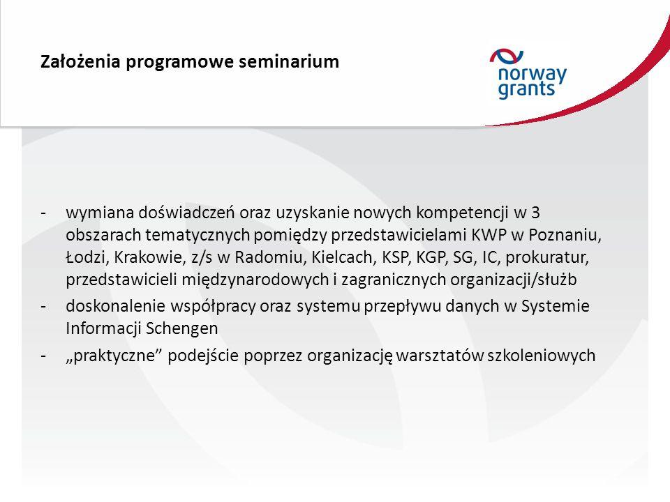"""Założenia programowe seminarium -wymiana doświadczeń oraz uzyskanie nowych kompetencji w 3 obszarach tematycznych pomiędzy przedstawicielami KWP w Poznaniu, Łodzi, Krakowie, z/s w Radomiu, Kielcach, KSP, KGP, SG, IC, prokuratur, przedstawicieli międzynarodowych i zagranicznych organizacji/służb -doskonalenie współpracy oraz systemu przepływu danych w Systemie Informacji Schengen -""""praktyczne podejście poprzez organizację warsztatów szkoleniowych"""