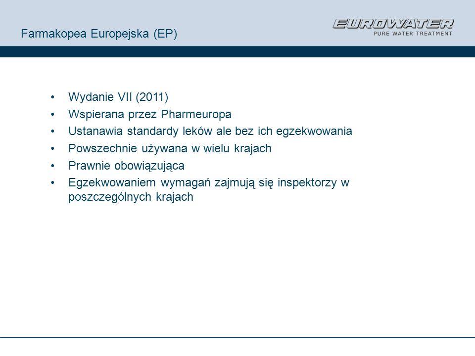 Farmakopea Europejska (EP) Wydanie VII (2011) Wspierana przez Pharmeuropa Ustanawia standardy leków ale bez ich egzekwowania Powszechnie używana w wielu krajach Prawnie obowiązująca Egzekwowaniem wymagań zajmują się inspektorzy w poszczególnych krajach