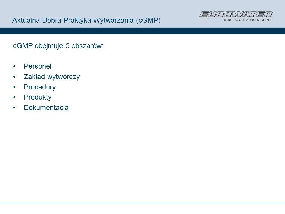 Aktualna Dobra Praktyka Wytwarzania (cGMP) cGMP obejmuje 5 obszarów: Personel Zakład wytwórczy Procedury Produkty Dokumentacja