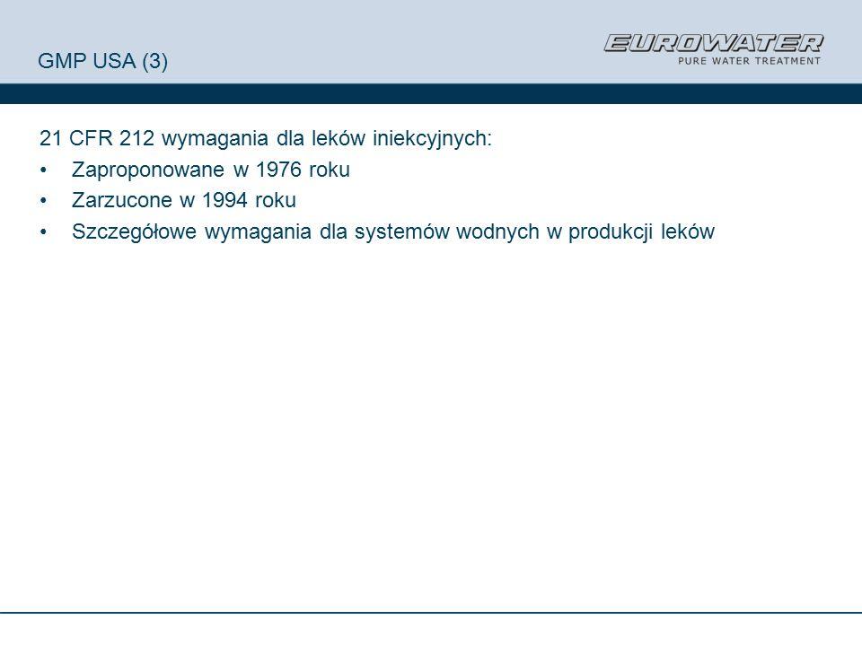 GMP USA (3) 21 CFR 212 wymagania dla leków iniekcyjnych: Zaproponowane w 1976 roku Zarzucone w 1994 roku Szczegółowe wymagania dla systemów wodnych w produkcji leków