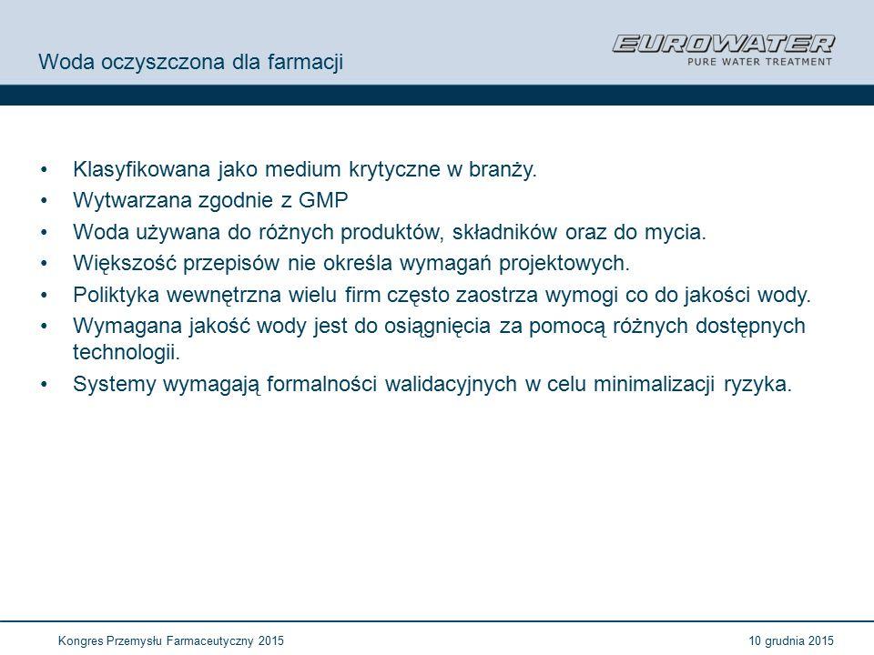 10 grudnia 2015Kongres Przemysłu Farmaceutyczny 2015 Znaczenie wody w przemyśle farmaceutycznym Szeroko używany a niekiedy najdroższy składnik produktu.