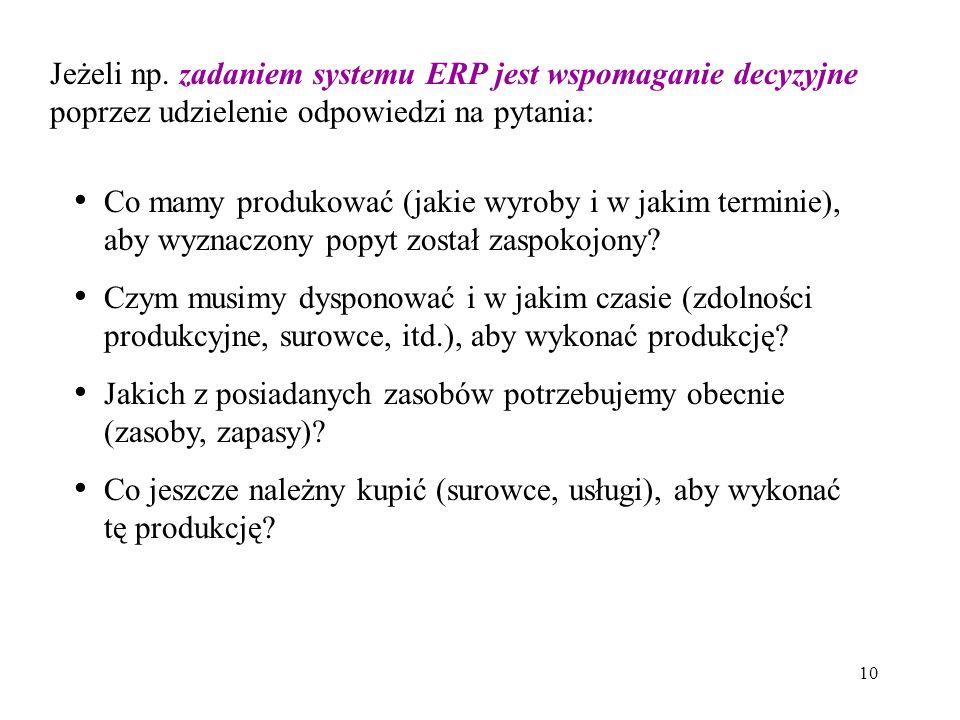 10 Jeżeli np. zadaniem systemu ERP jest wspomaganie decyzyjne poprzez udzielenie odpowiedzi na pytania: Co mamy produkować (jakie wyroby i w jakim ter