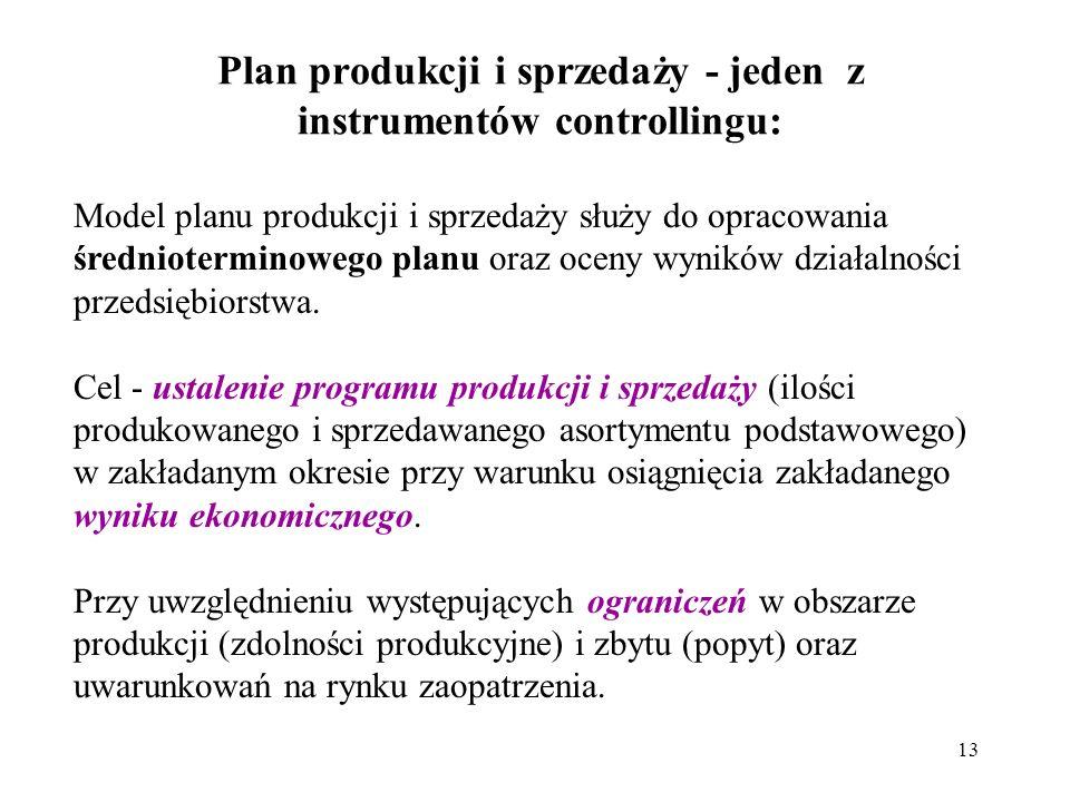 13 Plan produkcji i sprzedaży - jeden z instrumentów controllingu: Model planu produkcji i sprzedaży służy do opracowania średnioterminowego planu oraz oceny wyników działalności przedsiębiorstwa.