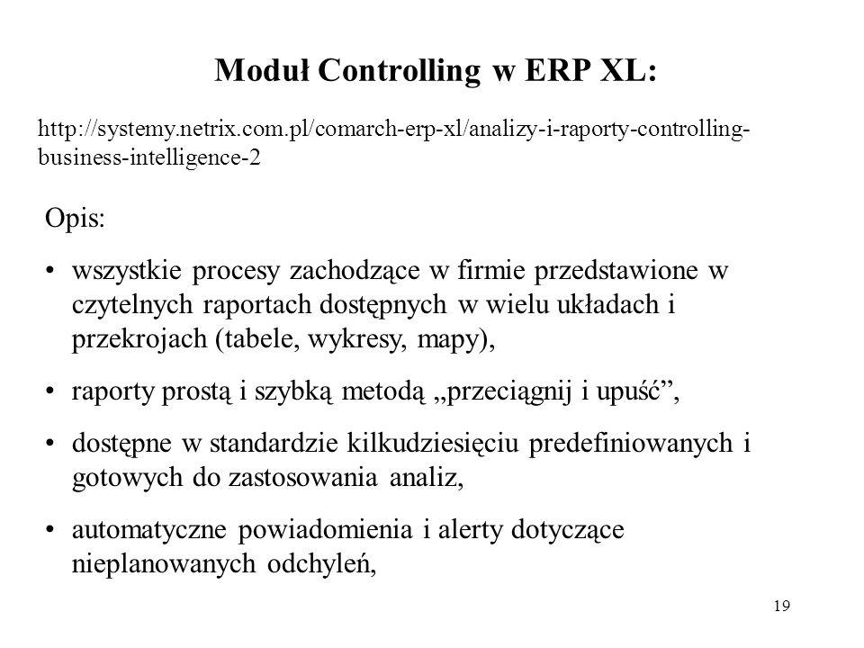 """19 Moduł Controlling w ERP XL: http://systemy.netrix.com.pl/comarch-erp-xl/analizy-i-raporty-controlling- business-intelligence-2 Opis: wszystkie procesy zachodzące w firmie przedstawione w czytelnych raportach dostępnych w wielu układach i przekrojach (tabele, wykresy, mapy), raporty prostą i szybką metodą """"przeciągnij i upuść , dostępne w standardzie kilkudziesięciu predefiniowanych i gotowych do zastosowania analiz, automatyczne powiadomienia i alerty dotyczące nieplanowanych odchyleń,"""