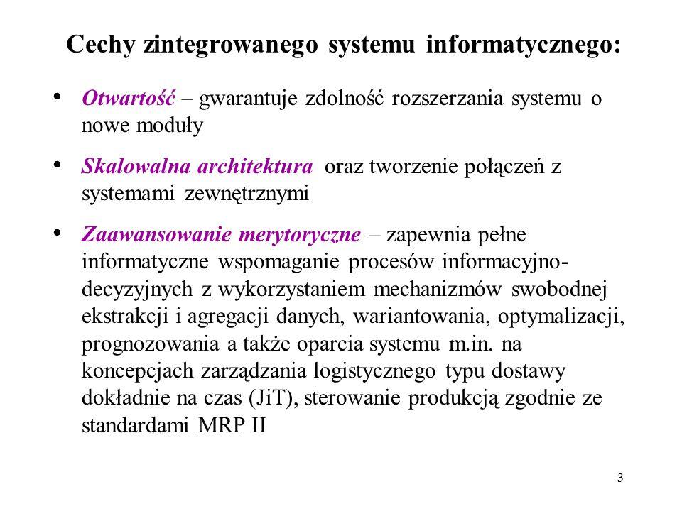 3 Cechy zintegrowanego systemu informatycznego: Otwartość – gwarantuje zdolność rozszerzania systemu o nowe moduły Skalowalna architektura oraz tworze