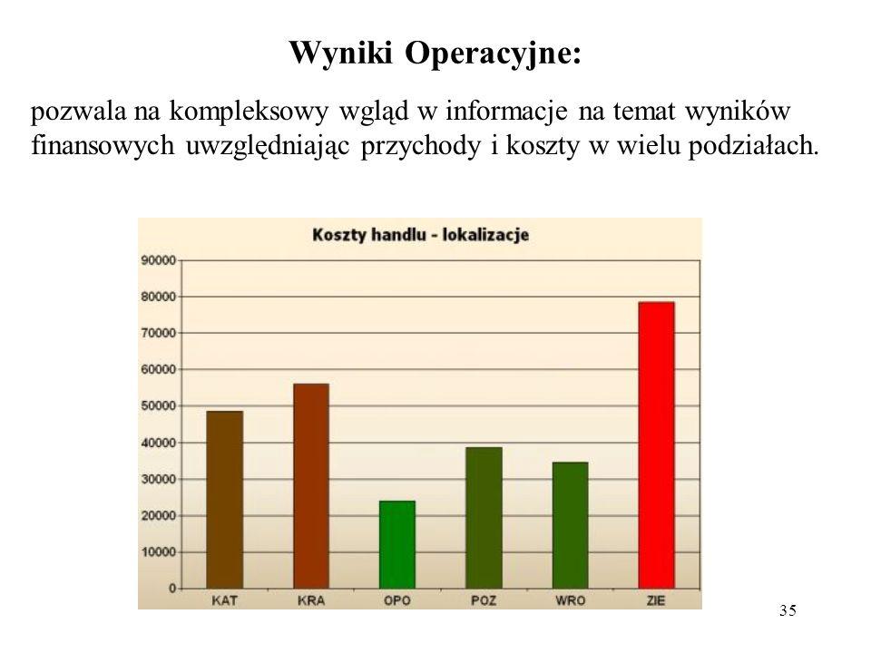 35 Wyniki Operacyjne: pozwala na kompleksowy wgląd w informacje na temat wyników finansowych uwzględniając przychody i koszty w wielu podziałach.