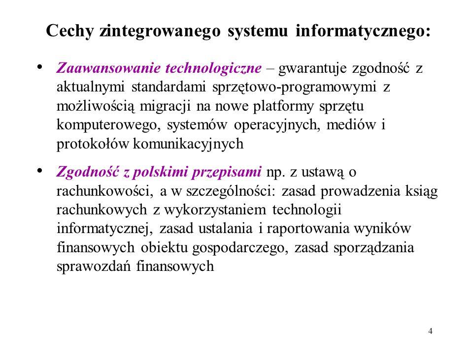 4 Cechy zintegrowanego systemu informatycznego: Zaawansowanie technologiczne – gwarantuje zgodność z aktualnymi standardami sprzętowo-programowymi z możliwością migracji na nowe platformy sprzętu komputerowego, systemów operacyjnych, mediów i protokołów komunikacyjnych Zgodność z polskimi przepisami np.
