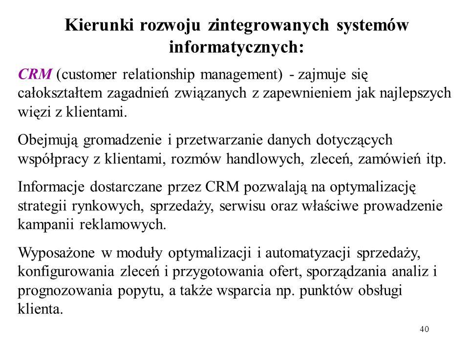 40 Kierunki rozwoju zintegrowanych systemów informatycznych: CRM (customer relationship management) - zajmuje się całokształtem zagadnień związanych z zapewnieniem jak najlepszych więzi z klientami.