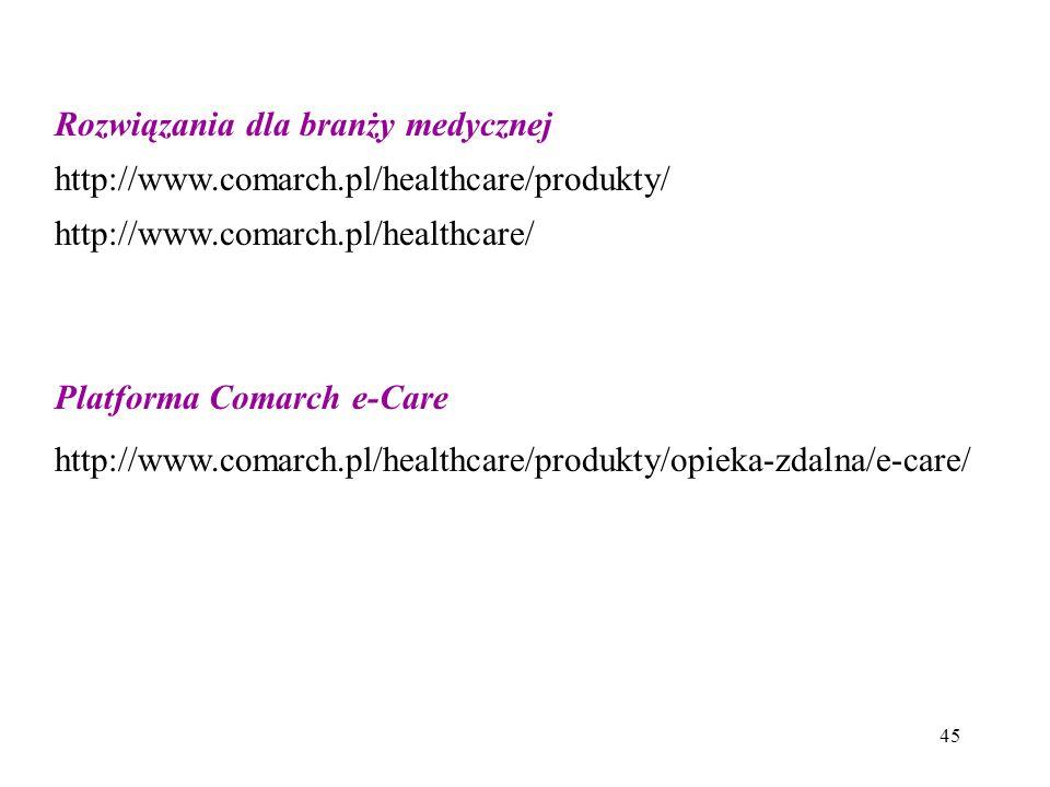 45 Rozwiązania dla branży medycznej http://www.comarch.pl/healthcare/produkty/ http://www.comarch.pl/healthcare/ Platforma Comarch e-Care http://www.comarch.pl/healthcare/produkty/opieka-zdalna/e-care/