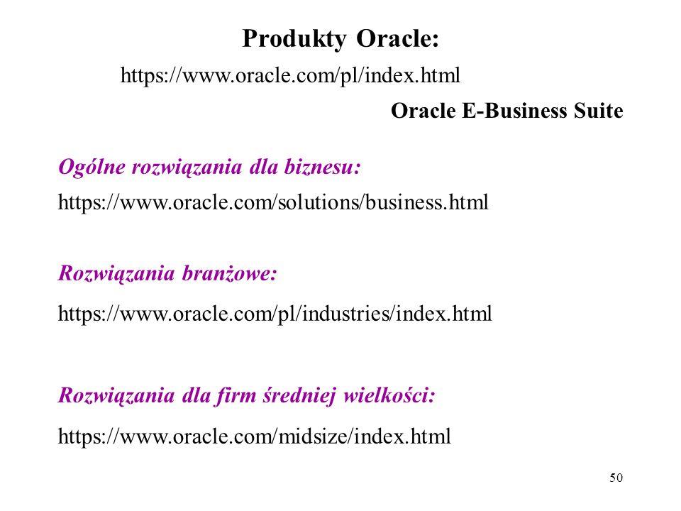 50 Produkty Oracle: https://www.oracle.com/pl/index.html Oracle E-Business Suite Ogólne rozwiązania dla biznesu: https://www.oracle.com/solutions/business.html Rozwiązania branżowe: https://www.oracle.com/pl/industries/index.html Rozwiązania dla firm średniej wielkości: https://www.oracle.com/midsize/index.html