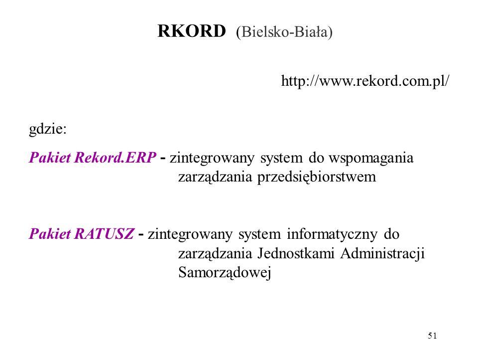 51 RKORD (Bielsko-Biała) http://www.rekord.com.pl/ gdzie: Pakiet Rekord.ERP - zintegrowany system do wspomagania zarządzania przedsiębiorstwem Pakiet RATUSZ - zintegrowany system informatyczny do zarządzania Jednostkami Administracji Samorządowej