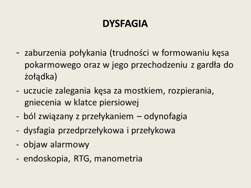 DYSFAGIA - zaburzenia połykania (trudności w formowaniu kęsa pokarmowego oraz w jego przechodzeniu z gardła do żołądka) - uczucie zalegania kęsa za mostkiem, rozpierania, gniecenia w klatce piersiowej - ból związany z przełykaniem – odynofagia - dysfagia przedprzełykowa i przełykowa - objaw alarmowy - endoskopia, RTG, manometria