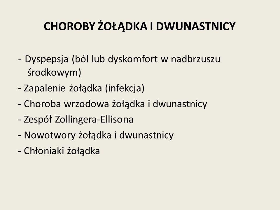 CHOROBY ŻOŁĄDKA I DWUNASTNICY - Dyspepsja (ból lub dyskomfort w nadbrzuszu środkowym) - Zapalenie żołądka (infekcja) - Choroba wrzodowa żołądka i dwunastnicy - Zespół Zollingera-Ellisona - Nowotwory żołądka i dwunastnicy - Chłoniaki żołądka