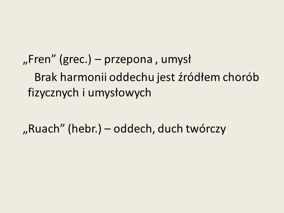 """""""Fren (grec.) – przepona, umysł Brak harmonii oddechu jest źródłem chorób fizycznych i umysłowych """"Ruach (hebr.) – oddech, duch twórczy"""