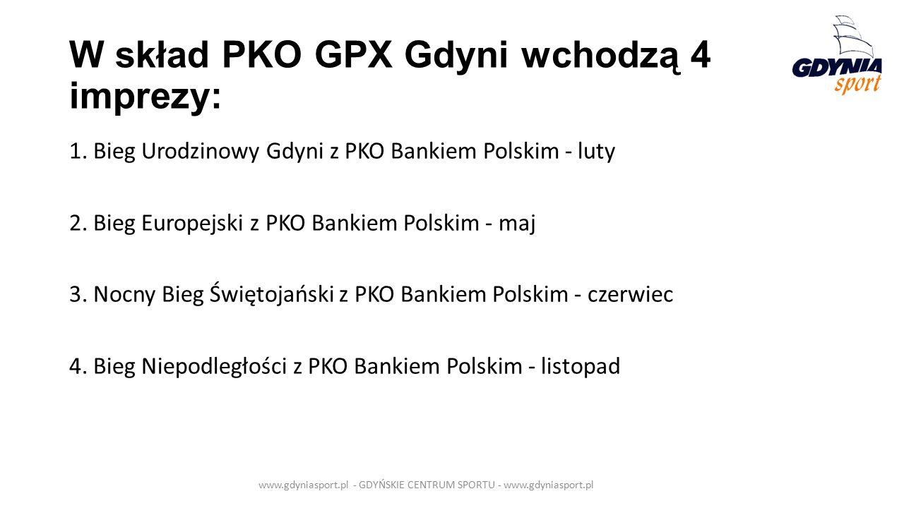 W skład PKO GPX Gdyni wchodzą 4 imprezy: 1. Bieg Urodzinowy Gdyni z PKO Bankiem Polskim - luty 2.
