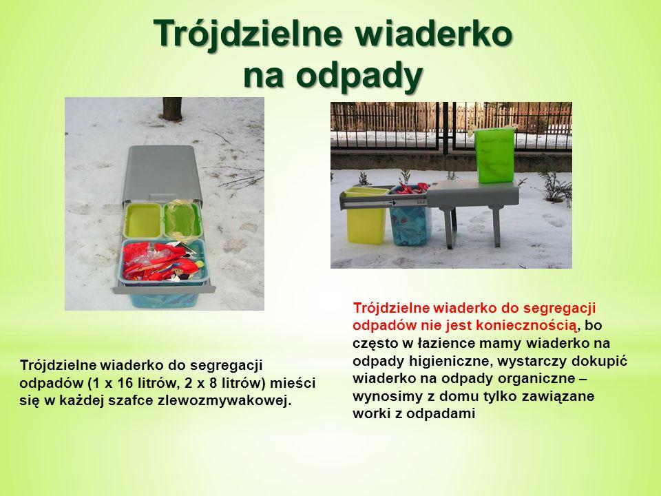 Trójdzielne wiaderko do segregacji odpadów (1 x 16 litrów, 2 x 8 litrów) mieści się w każdej szafce zlewozmywakowej.