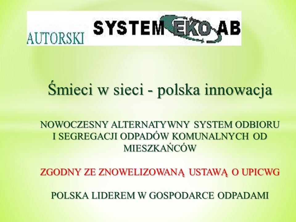 Śmieci w sieci - polska innowacja NOWOCZESNY ALTERNATYWNY SYSTEM ODBIORU I SEGREGACJI ODPADÓW KOMUNALNYCH OD MIESZKAŃCÓW ZGODNY ZE ZNOWELIZOWANĄ USTAW