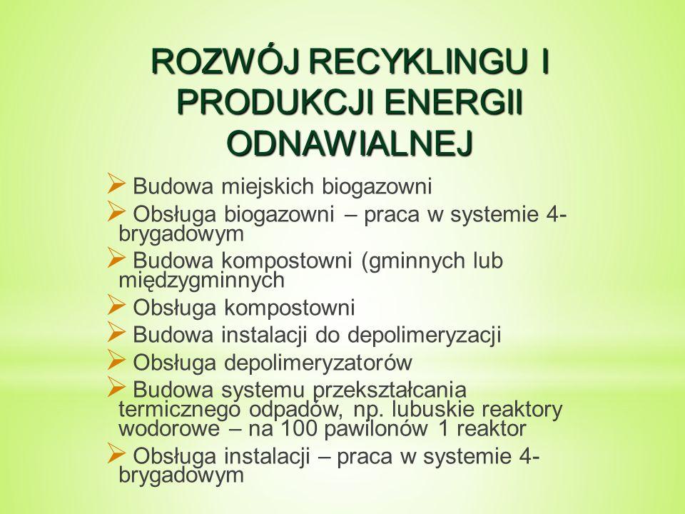 ROZWÓJ RECYKLINGU I PRODUKCJI ENERGII ODNAWIALNEJ  Budowa miejskich biogazowni  Obsługa biogazowni – praca w systemie 4- brygadowym  Budowa kompostowni (gminnych lub międzygminnych  Obsługa kompostowni  Budowa instalacji do depolimeryzacji  Obsługa depolimeryzatorów  Budowa systemu przekształcania termicznego odpadów, np.