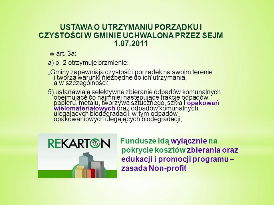 """USTAWA O UTRZYMANIU PORZĄDKU I CZYSTOŚCI W GMINIE UCHWALONA PRZEZ SEJM 1.07.2011 w art. 3a: a) p. 2 otrzymuje brzmienie: """"Gminy zapewniają czystość i"""