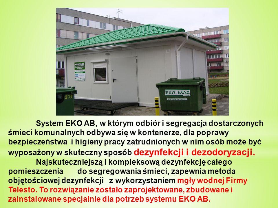 Pawilon jest klimatyzowany Kurtyna powietrzna w drzwiach wejściowych – oszczędność energii Dla ochrony przeciwpożarowej kontenera EKO AB wykorzystano gaśnice wodne mgłowe Telesto - patent firmy Telesto.