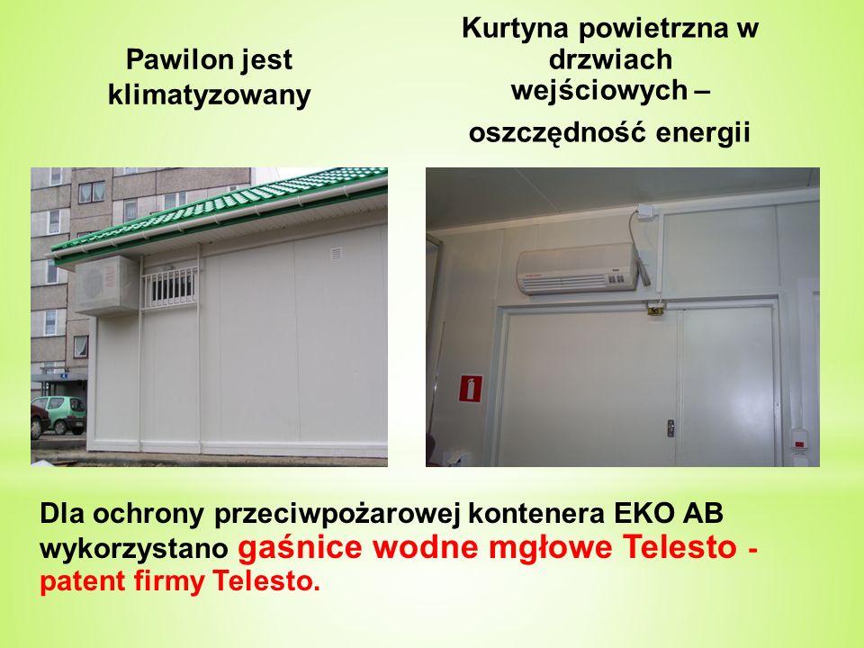 Pawilon jest klimatyzowany Kurtyna powietrzna w drzwiach wejściowych – oszczędność energii Dla ochrony przeciwpożarowej kontenera EKO AB wykorzystano