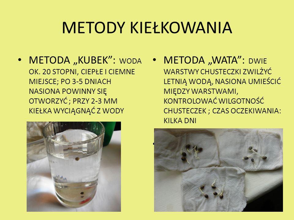 """METODY KIEŁKOWANIA METODA """"KUBEK : WODA OK."""
