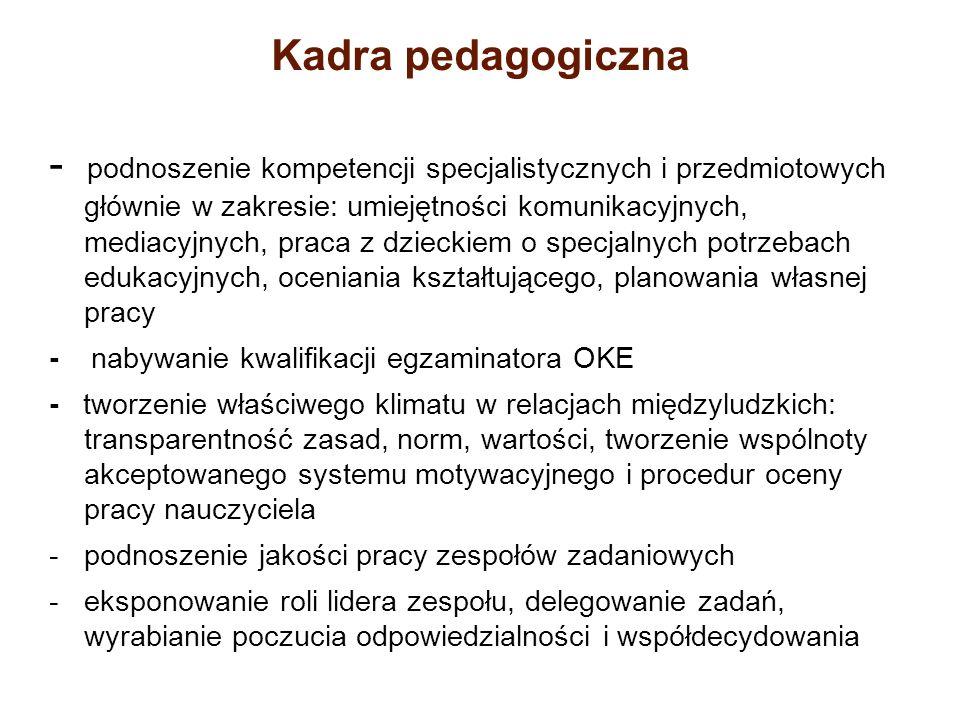 Kadra pedagogiczna - podnoszenie kompetencji specjalistycznych i przedmiotowych głównie w zakresie: umiejętności komunikacyjnych, mediacyjnych, praca