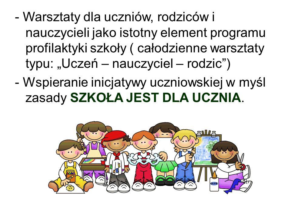 """- Warsztaty dla uczniów, rodziców i nauczycieli jako istotny element programu profilaktyki szkoły ( całodzienne warsztaty typu: """"Uczeń – nauczyciel –"""