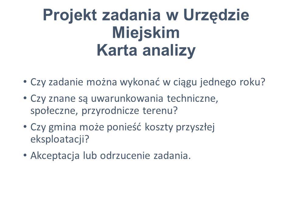 Projekt zadania w Urzędzie Miejskim Karta analizy Czy zadanie można wykonać w ciągu jednego roku.