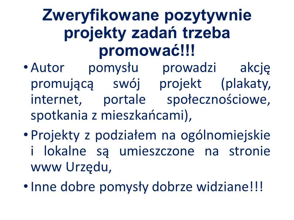 Zweryfikowane pozytywnie projekty zadań trzeba promować!!.
