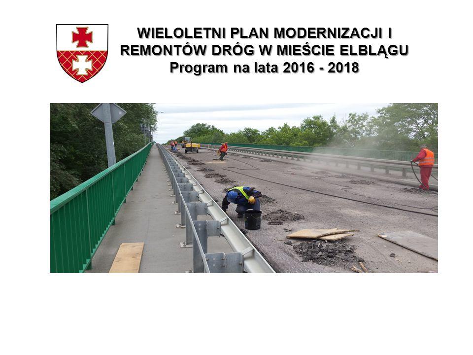 WIELOLETNI PLAN MODERNIZACJI I REMONTÓW DRÓG W MIEŚCIE ELBLĄGU Program na lata 2016 - 2018