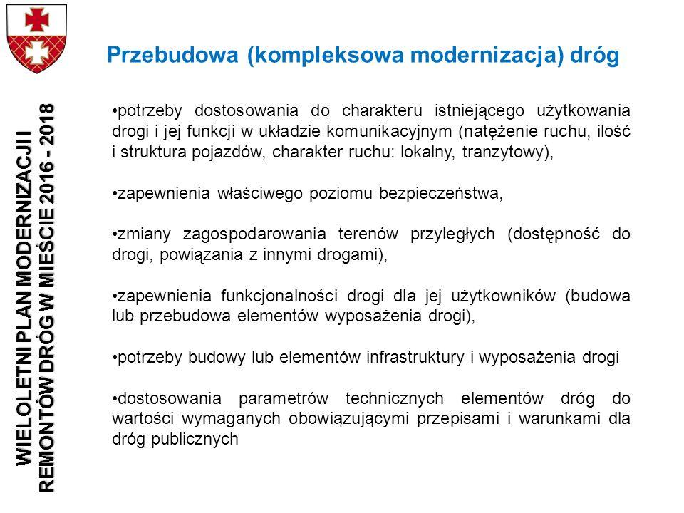 potrzeby dostosowania do charakteru istniejącego użytkowania drogi i jej funkcji w układzie komunikacyjnym (natężenie ruchu, ilość i struktura pojazdó