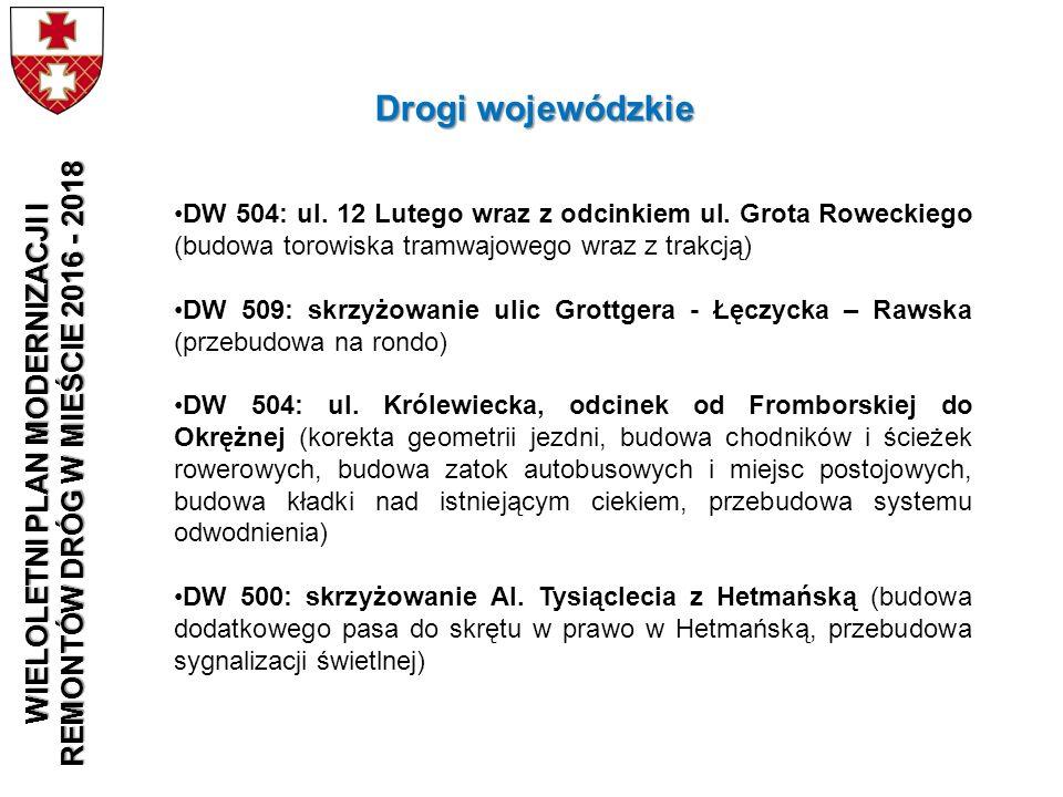 DW 504: ul. 12 Lutego wraz z odcinkiem ul. Grota Roweckiego (budowa torowiska tramwajowego wraz z trakcją) DW 509: skrzyżowanie ulic Grottgera - Łęczy