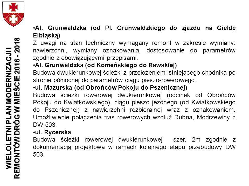 Al. Grunwaldzka (od Pl. Grunwaldzkiego do zjazdu na Giełdę Elbląską) Z uwagi na stan techniczny wymagany remont w zakresie wymiany: nawierzchni, wymia