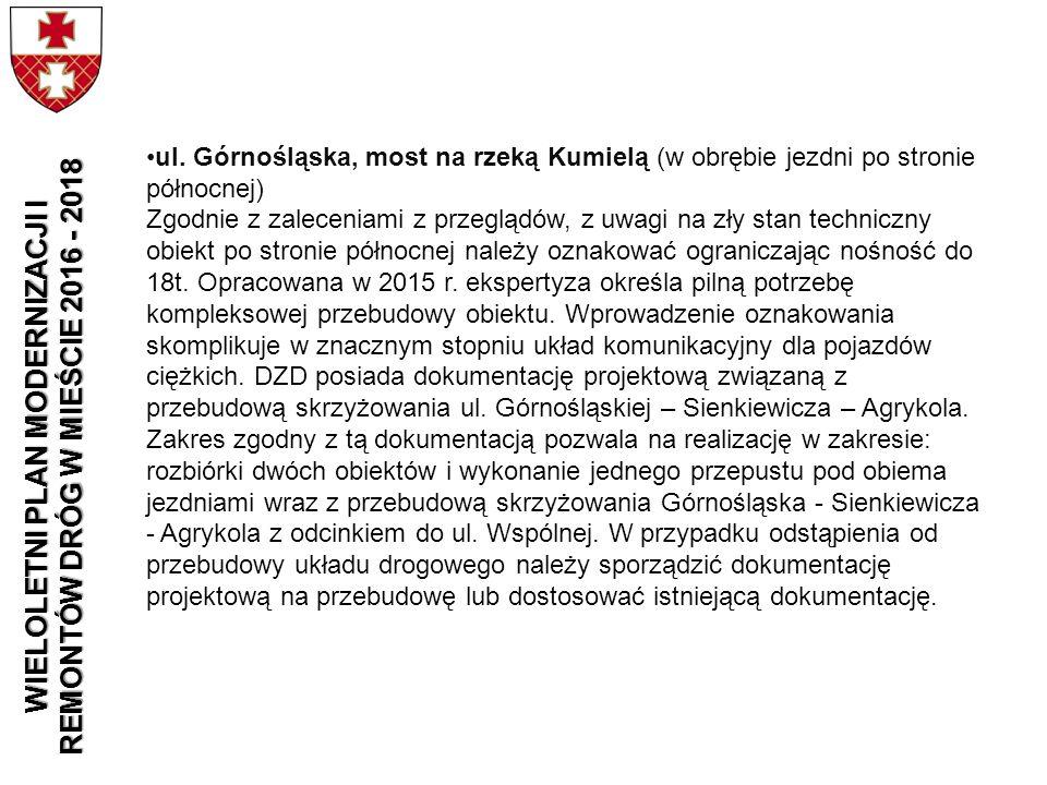 ul. Górnośląska, most na rzeką Kumielą (w obrębie jezdni po stronie północnej) Zgodnie z zaleceniami z przeglądów, z uwagi na zły stan techniczny obie