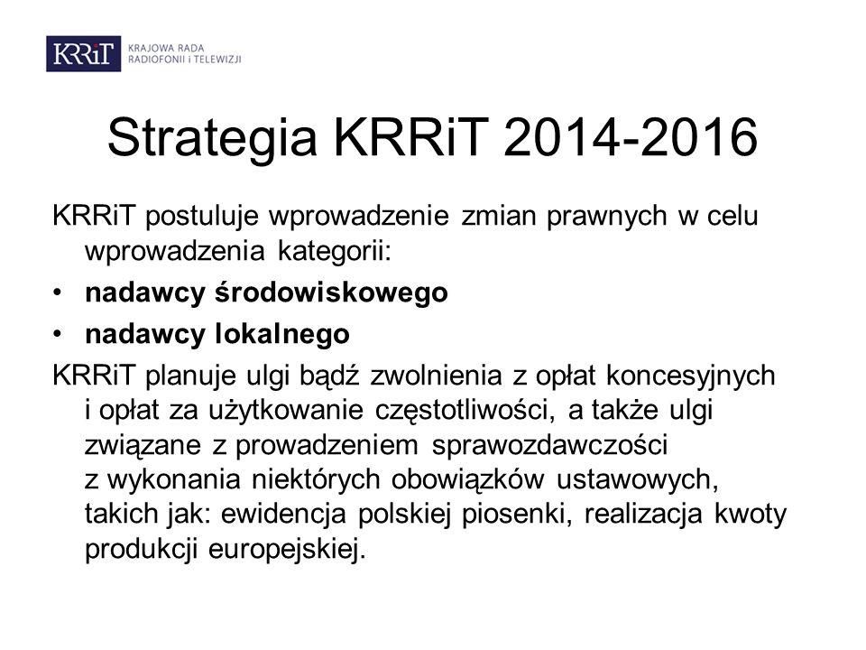 Strategia KRRiT 2014-2016 KRRiT postuluje wprowadzenie zmian prawnych w celu wprowadzenia kategorii: nadawcy środowiskowego nadawcy lokalnego KRRiT planuje ulgi bądź zwolnienia z opłat koncesyjnych i opłat za użytkowanie częstotliwości, a także ulgi związane z prowadzeniem sprawozdawczości z wykonania niektórych obowiązków ustawowych, takich jak: ewidencja polskiej piosenki, realizacja kwoty produkcji europejskiej.