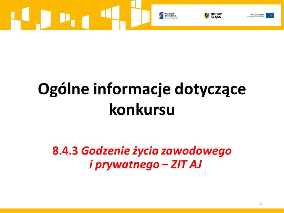 Ogólne informacje dotyczące konkursu 8.4.3 Godzenie życia zawodowego i prywatnego – ZIT AJ 3