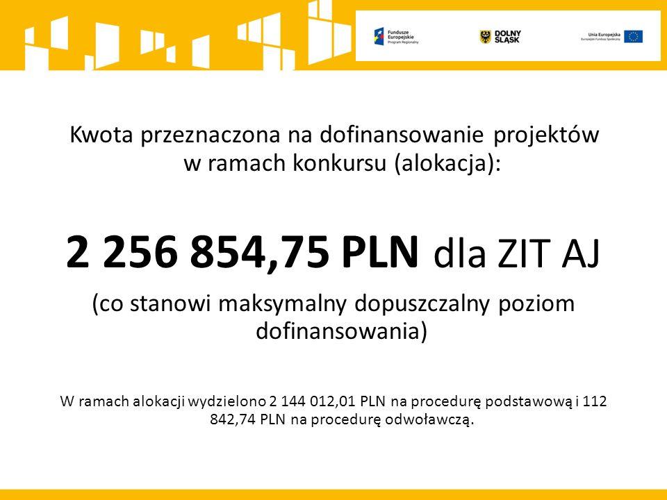 Kwota przeznaczona na dofinansowanie projektów w ramach konkursu (alokacja): 2 256 854,75 PLN dla ZIT AJ (co stanowi maksymalny dopuszczalny poziom dofinansowania) W ramach alokacji wydzielono 2 144 012,01 PLN na procedurę podstawową i 112 842,74 PLN na procedurę odwoławczą.