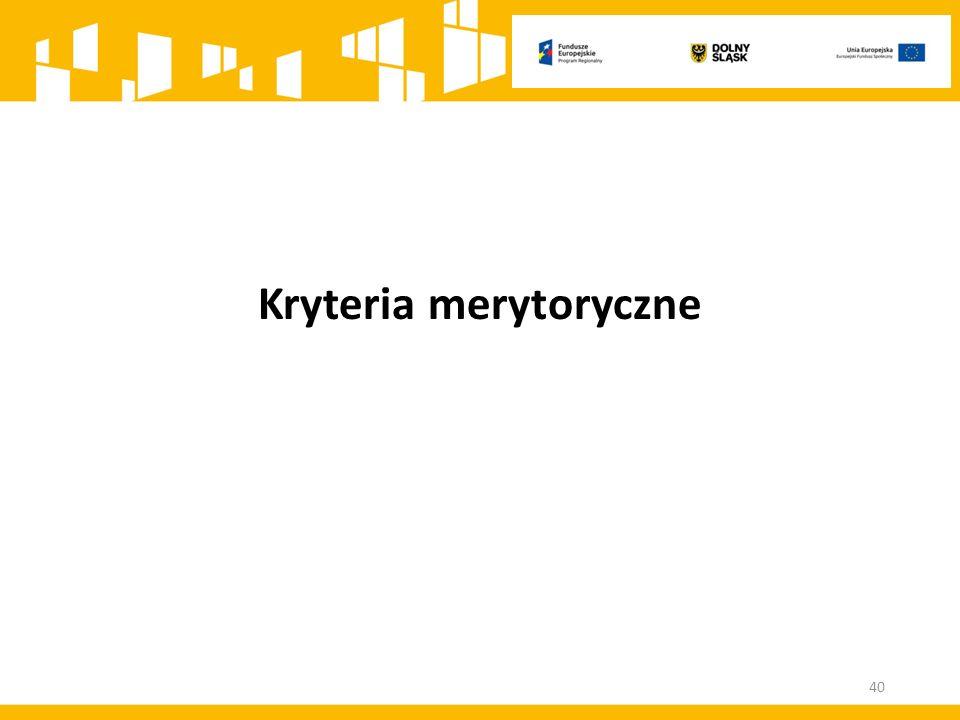 Kryteria merytoryczne 40