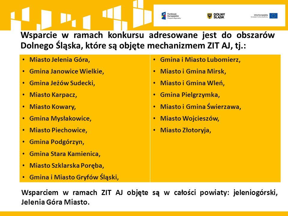 Wsparcie w ramach konkursu adresowane jest do obszarów Dolnego Śląska, które są objęte mechanizmem ZIT AJ, tj.: Miasto Jelenia Góra, Gmina Janowice Wi