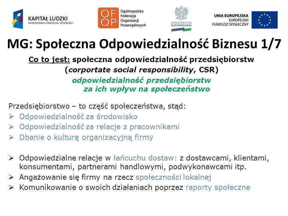 MG: Społeczna Odpowiedzialność Biznesu 1/7 Co to jest: społeczna odpowiedzialność przedsiębiorstw (corportate social responsibility, CSR) odpowiedzial