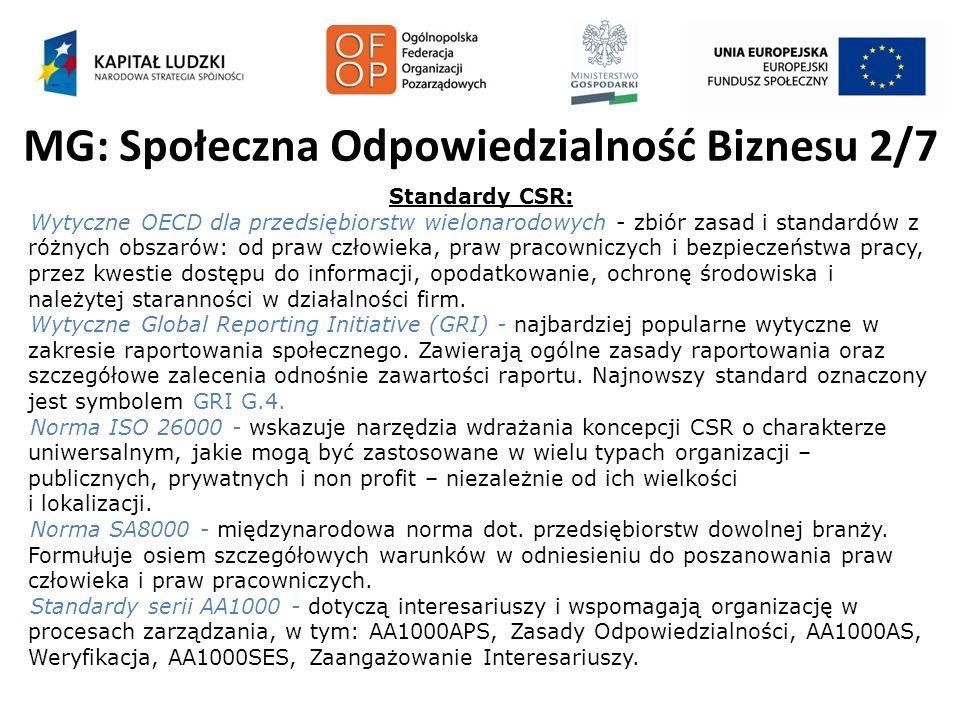 MG: Społeczna Odpowiedzialność Biznesu 2/7 Standardy CSR: Wytyczne OECD dla przedsiębiorstw wielonarodowych - zbiór zasad i standardów z różnych obsza