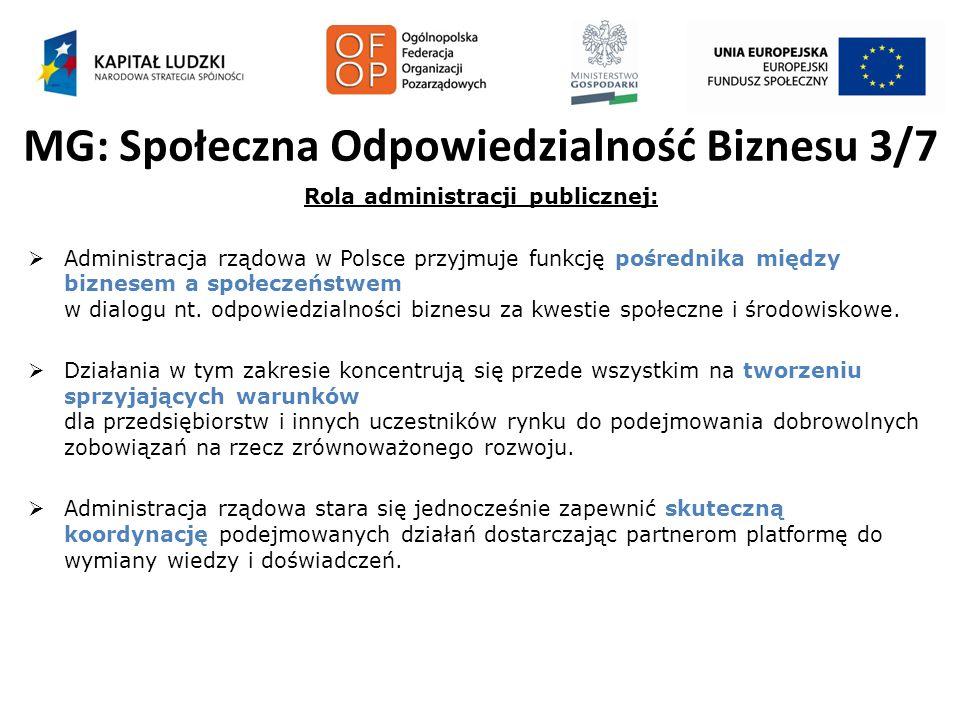 MG: Społeczna Odpowiedzialność Biznesu 3/7 Rola administracji publicznej:  Administracja rządowa w Polsce przyjmuje funkcję pośrednika między biznese