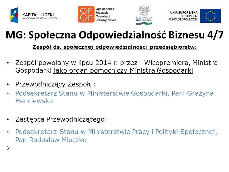MG: Społeczna Odpowiedzialność Biznesu 4/7 Zespół ds. społecznej odpowiedzialności przedsiębiorstw: Zespół powołany w lipcu 2014 r. przez Wicepremiera