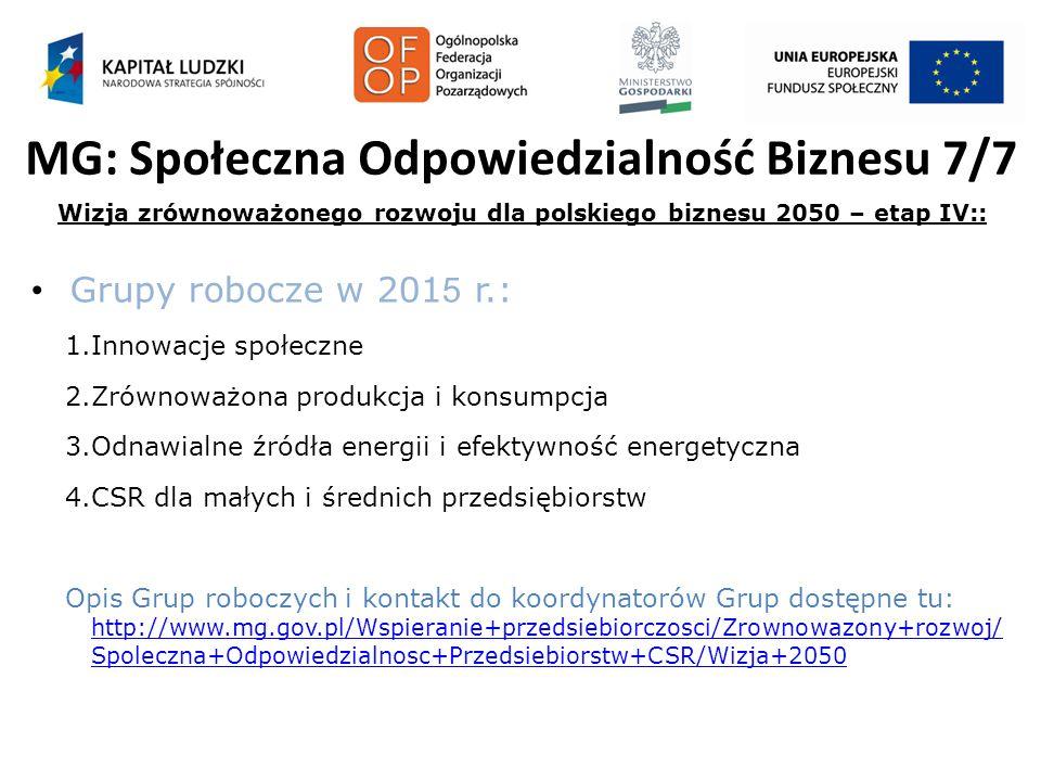 MG: Społeczna Odpowiedzialność Biznesu 7/7 Wizja zrównoważonego rozwoju dla polskiego biznesu 2050 – etap IV:: Grupy robocze w 201 5 r.: 1.Innowacje s