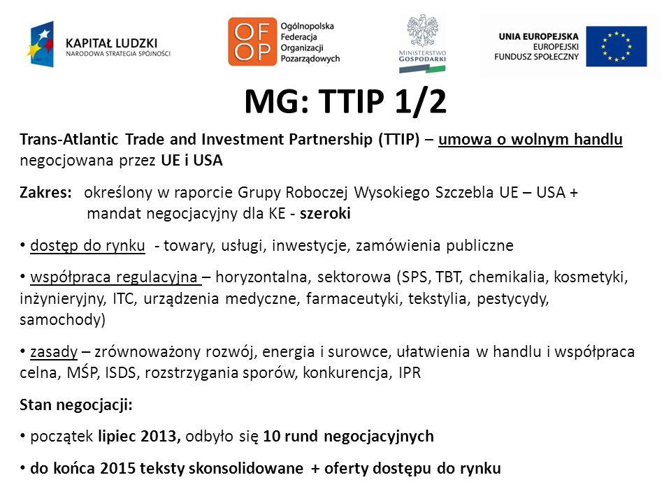 MG: TTIP 1/2 Trans-Atlantic Trade and Investment Partnership (TTIP) – umowa o wolnym handlu negocjowana przez UE i USA Zakres: określony w raporcie Gr