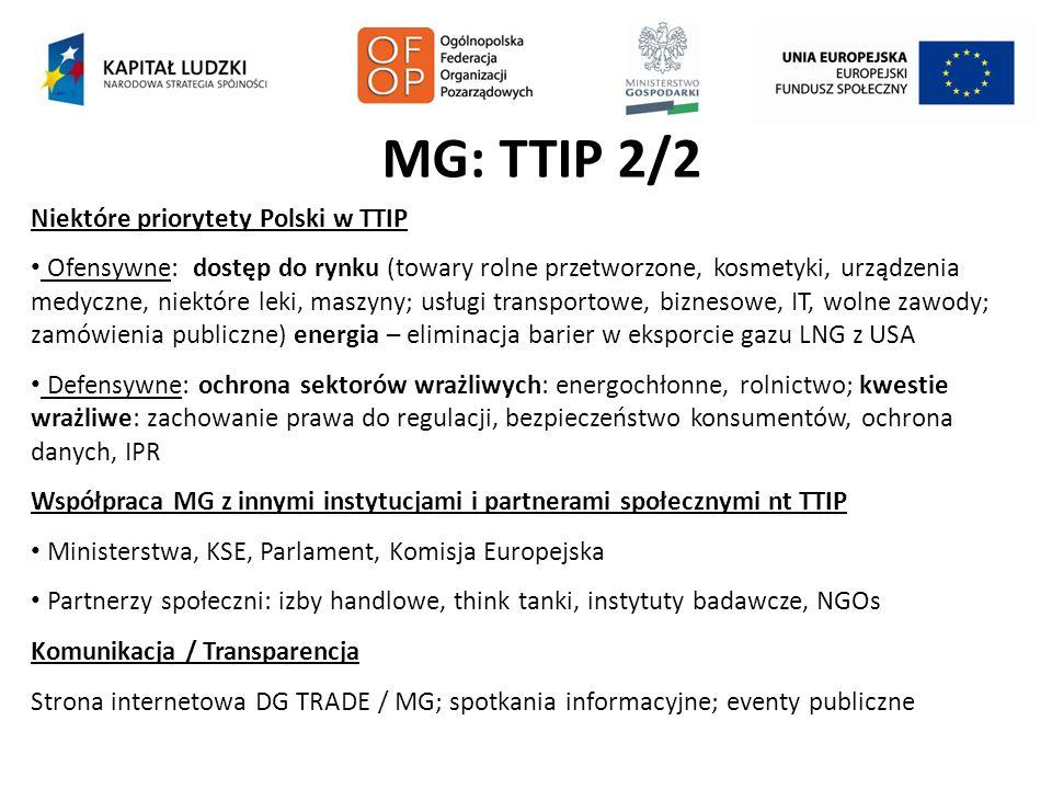 MG: TTIP 2/2 Niektóre priorytety Polski w TTIP Ofensywne: dostęp do rynku (towary rolne przetworzone, kosmetyki, urządzenia medyczne, niektóre leki, m